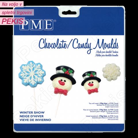 PME modelček za lizike ali čokoladke snežak in snežinka