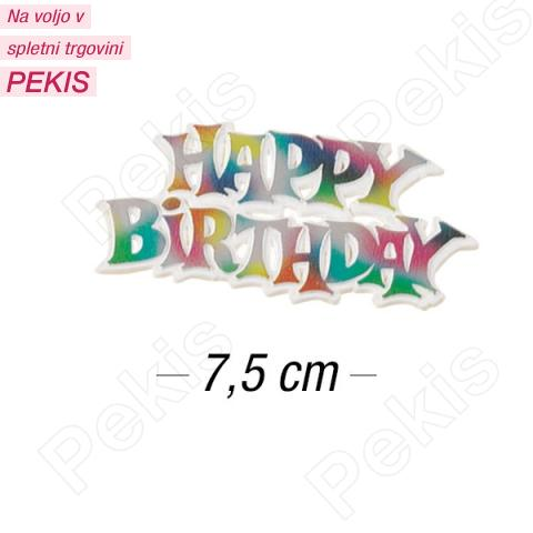 Topper za torto Happy Birthday 7,5 cm, Večbarvni