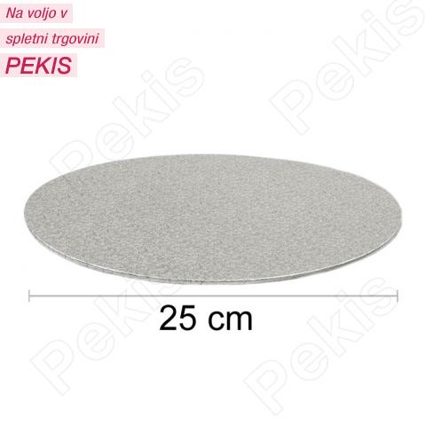 Podstavek 25cm, debelina 3mm – Srebrn