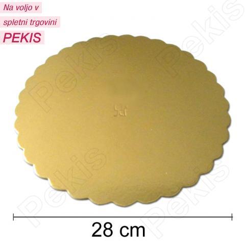 Podstavek 28cm, debelina 3mm - Zlata rožica