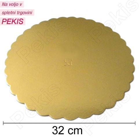 Podstavek 32cm, debelina 3mm - Zlata rožica