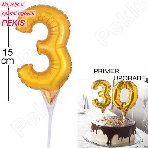 Topper za torto Zlat Balon št.3