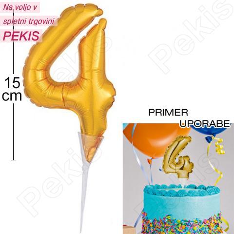 Topper za torto Zlat Balon št.4