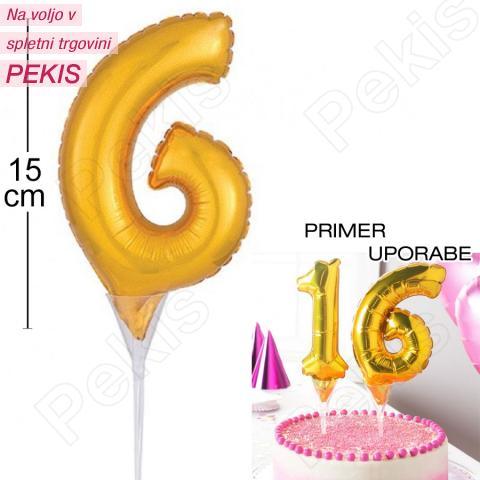 Topper za torto Zlat Balon št.6