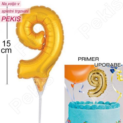 Topper za torto Zlat Balon št.9