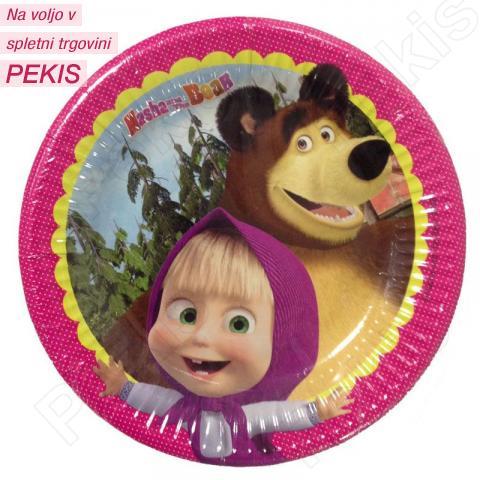 Papirnati krožniki Maša in Medved 19,5 cm