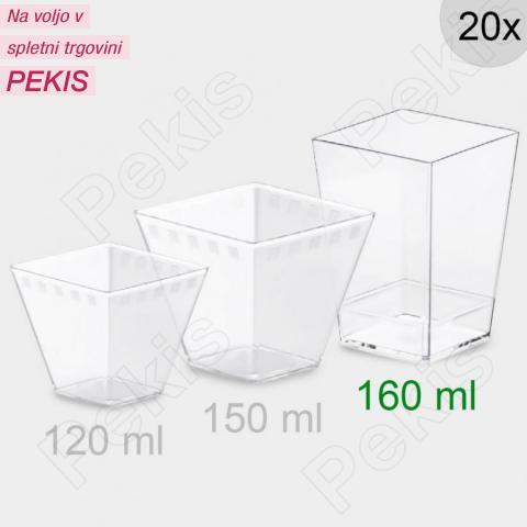 Kozarčki za sladice 160 ml, prozorni, 20 kom