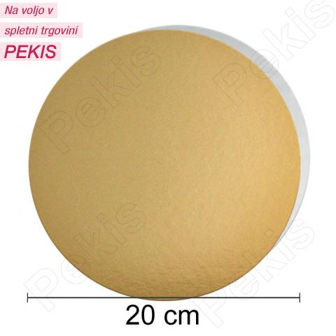 Zlat-srebrn mehkejši podstavek za torto 20 cm