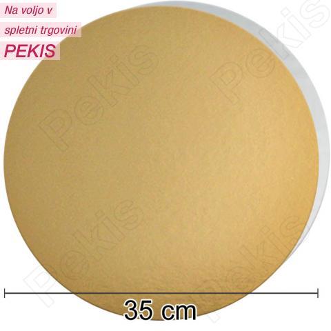 Zlat-srebrn mehkejši podstavek za torto 35 cm