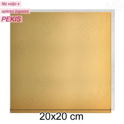 Zlat-srebrn mehkejši podstavek za torto 20x20 cm