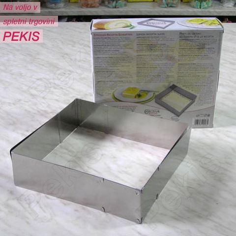 Nastavljiv obroč za peko ŠTIRIOGLAT 7cm, rostfrei