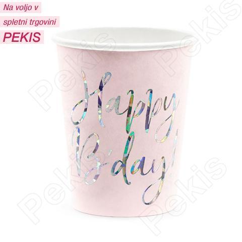 Papirnati kozarci Happy Birthday, roza, 220 ml, 6 kom