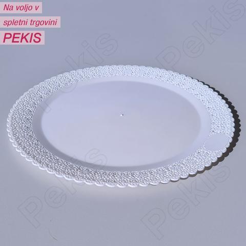 Bel pladenj s čipko (3,5cm čipke) 35 cm