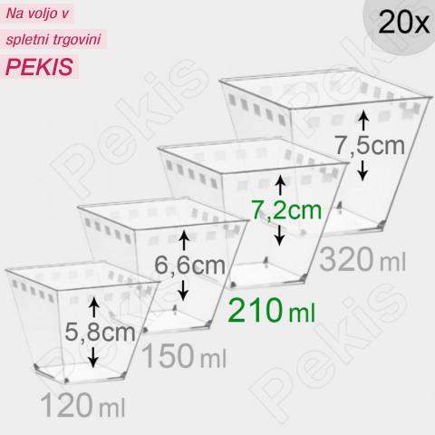 Kozarčki za sladice 210 ml, prozorni, 20 kom