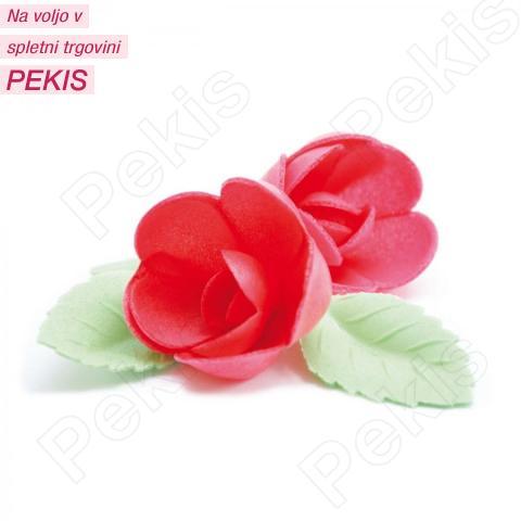 Vrtnice z listki iz hostije Rdeče, 4 cm