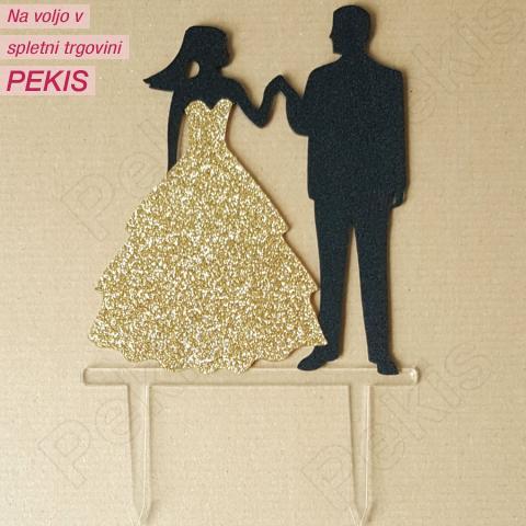 Topper za torto Ženin in Nevesta, zlat