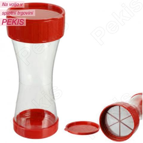 Posipalec za sladkor s pokrovom, plastika, rdeč