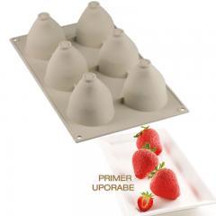 Silikomart silikonski pekač 3D Jagode in smetana
