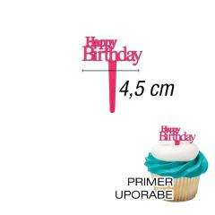 Mini topper za muffine Happy Birthday Roza
