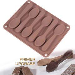 Silikonski kalup za čokoladne žličke, rjav