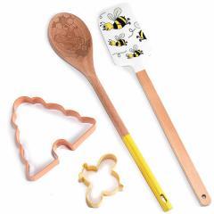 Silikonska lopatka, kuhalnica, modeček čebelica, čebelji panj