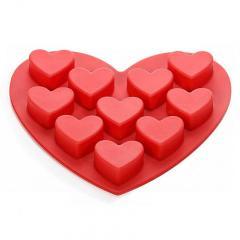 Silikonski kalup v obliki srca, rdeč