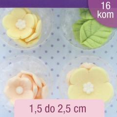Limonino rumene rožice in listki (1,5-2,5cm) 16 kom