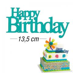 Eleganten napis za torto Happy Birthday, ZELENO MODER