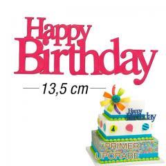 Eleganten napis za torto Happy Birthday, ROZA