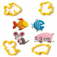 Modelčki ribice, miška, pujs - 4 delni