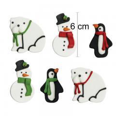 6 sladkornih dekoracij, medved, snežak, pingvin