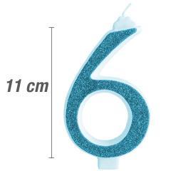 Svečka številka, Modra z bleščicami št.6