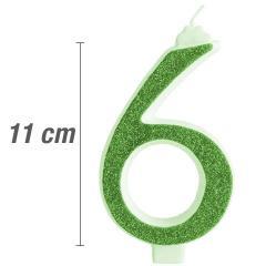 Svečka številka, Zelena z bleščicami št.6