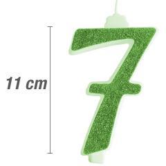 Svečka številka, Zelena z bleščicami št.7