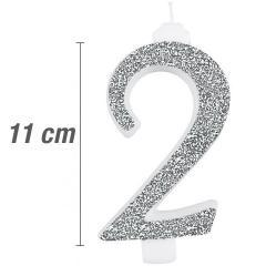 Svečka številka, Srebrna z bleščicami št.2