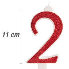 Svečka številka, Rdeča z bleščicami št.2