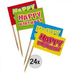 Dekoracija za muffine Happy Birthday, 24 kom