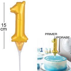 Topper za torto Zlat Balon št.1