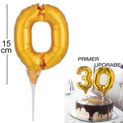 Topper za torto Zlat Balon št.0