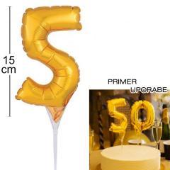 Topper za torto Zlat Balon št.5