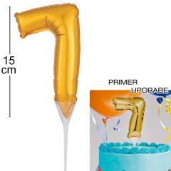 Topper za torto Zlat Balon št.7