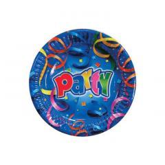 Papirnati krožniki Party - zabava - modri 16 cm