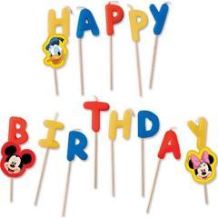 Disney Svečke za torto Miki-Mini Miška, Happy Birthday