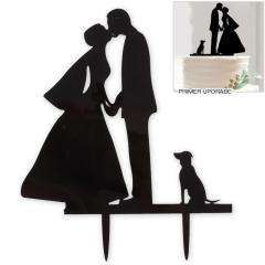 Poročni par s psom 13 cm