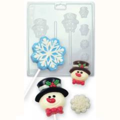Modelček za čokoladne lizike snežak in snežinka