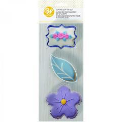 Wilton modelčki roža / list / podlaga, 8,5 cm