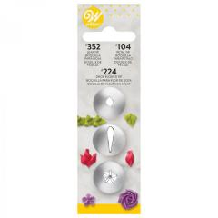 Wilton nastavki 3 delni set za rožice in listke, Tip #104, Tip #352, Tip #224