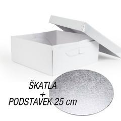 Kartonska embalaža + podstavek za torto 25x25x15 cm