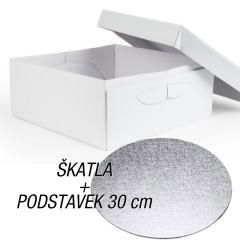 Kartonska embalaža + podstavek za torto 30x30x15 cm