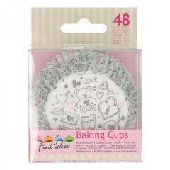 Papirčki za muffine Love v sliki, 48 kom, FunCakes